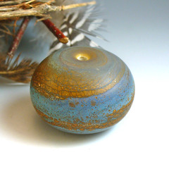 update for etsy sept 20 trio blue and mustard focal 1 (wandering spirit designs) Tags: ocean blue etched beach nature glass handmade cream jewelry mustard organic lampwork crackle hollow pendant matte glassbeads lightweight focal stonelike fumed lampworkbeads wanderingspirit wanderingspiritdesigns ajavaz