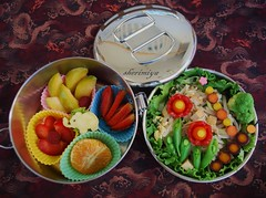 Pad Thai Garden Bento (sherimiya ) Tags: flowers school cute fruits tangerine kids lunch kid strawberry pretty tomatoes sheri plum homemade vegetarian noodles bento padthai raspberries obento skewers broccoflower firstgrader purplecarrots sherimiya