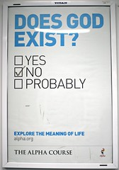 Does god exist? (ludwig van standard lamp) Tags: funny god atheism humour alphacourse subvertising