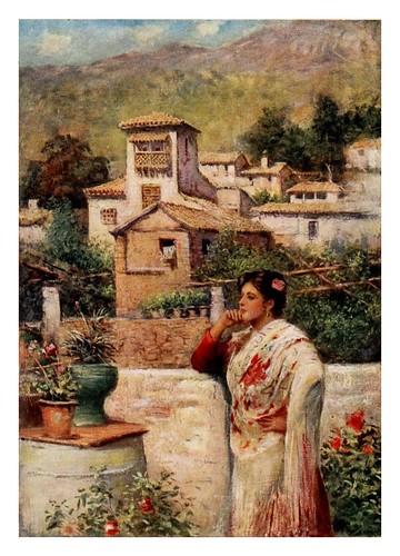 047-Granada-un rincon en el barrio antiguo-Southern Spain 1908- Trevor Haddon