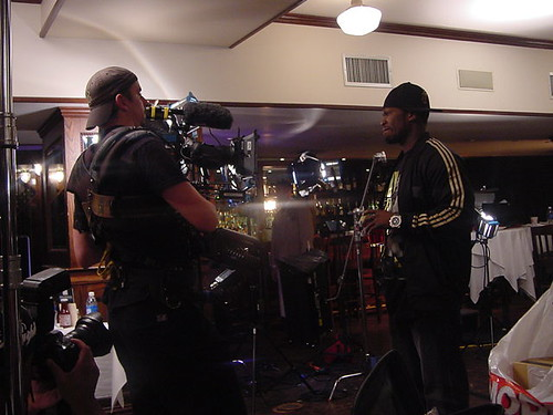 Jon Beattie works the steadicam as 50 enters. We had to shoot this shot many time and 50 was always happy to go again.
