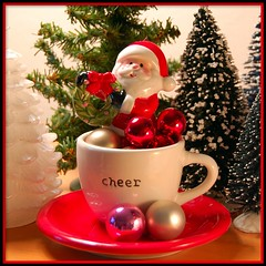 A Cup of Good Cheer (contrarymary) Tags: santa christmas holiday vintage weihnachten noel christmastree wreath ornament ornaments christmasdecorations cheers santaclaus cheer merrychristmas 2009 goodwill christmascard christmasornaments feliznavidad babbonatale goodwishes goodhealth froheweihnachten vrolijke godjul  vrolijkekerstmis vintagetreasures bottlebrushtrees  virgiliocompany