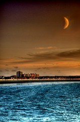 Calais under the moon (Tony Shertila) Tags: blue sunset red sea sky moon france water port europe calais englishchannel lamanche platinumheartaward thesleeve
