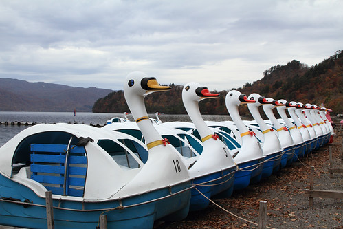 pedal boats (pedalos) at the coast of Lake Towada