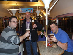 Enjoying a drink, en route to Erfurt (ianw2007 500k views at last, took 10yrs!) Tags: friends train germany carriage db buffet weissbier