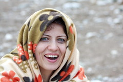 Cold but Happy (hapal) Tags: portrait woman cold green girl smile face turkey happy eyes teeth iranian             canoneos40d   hamidnajafi
