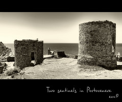 Two sentinels in Portovenere (in eva vae) Tags: sea two bw italy seascape brick tower church nature water monochrome rocks eva italia liguria cape guards portovenere sentinels spietro inevavae