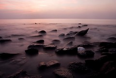Melting in the Sea.... (Shad0w_0f_Dark) Tags: sunset sea sky coral stone nikon jellyfish stmartin slowshutter 1750 ttl d200 tamron seawaves mywinners coralislandbnagladesh