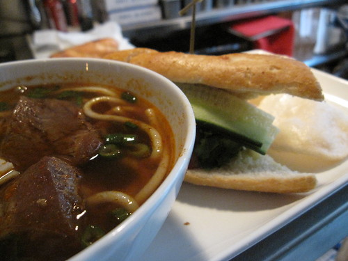 vietnamese soup and sandwich