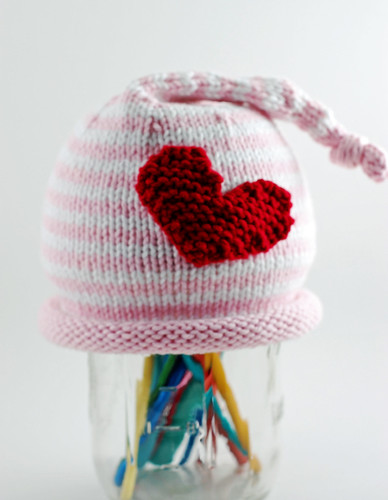 Pink Stripes Heart Hat 02