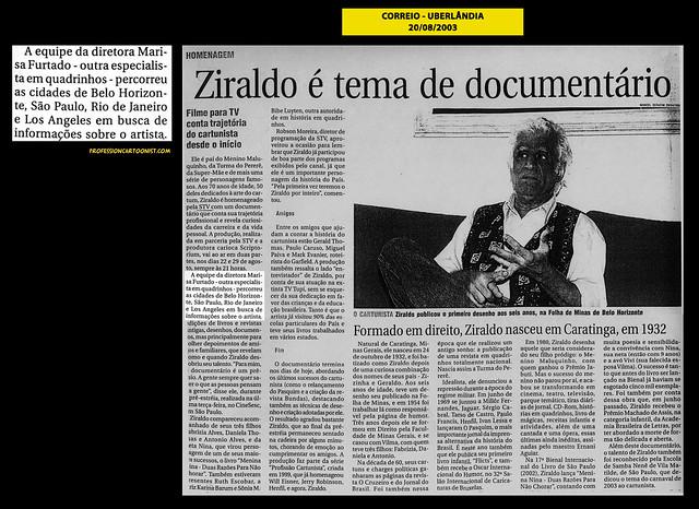 """""""Ziraldo é tema de documentário"""" - Correio - 20/08/2003"""