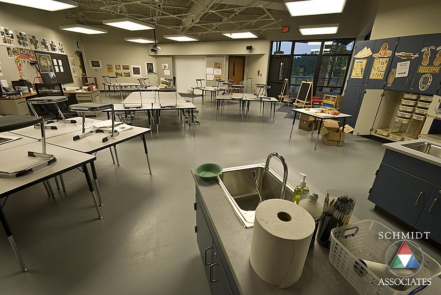 Nice Art Room 2 (SchmidtPhotos) Tags: Lighting School Art Architecture Artwork Sink  Classroom Interior