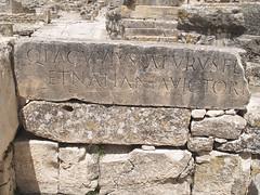 Latin Epigraphy at Dougga (II) (isawnyu) Tags: city urban history archaeology town ancient roman tunisia text carve latin civilization byzantine inscription punic polis excavation dougga epigraphy numidia thougga pleiades:depicts=315223
