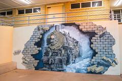 Railway Station Mural (Serendigity) Tags: railwaystation mural steamtrain mining nsw newsouthwales roadtrip city locomotive brokenhill outback australia dusk