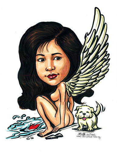 Angel caricatrure for tattoo A4 no ring