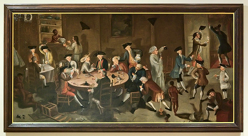 "Oil painting, ""Sea Captains Carousing in Surinam"", by John Greenwood, American, ca. 1752-1758, at the Saint Louis Art Museum, in Saint Louis, Missouri, USA"