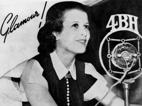 Mary Maguire being interviewed on Radio 4BH in Brisbane, ca. 1936