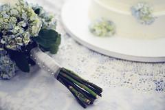 (Ashley Goodwin) Tags: flowers blue wedding summer cake 50mm bride pearls bouquet