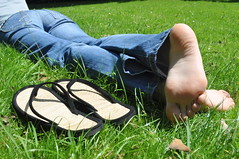 Laying Barefoot In The Grass (Artistic Feet) Tags: summer sun cute feet pose asian photography foot toes pretty arch legs artistic small down nails flip barefoot heels flops shape soles laying curvs