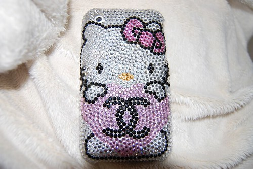 my hello kitty swarovski phone case. its my favorite thing about my iphone.