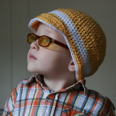 crocheted brimmed hat