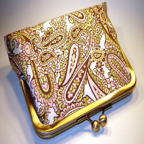 Pink, Green, and Brown Paisley Trendy Clutch