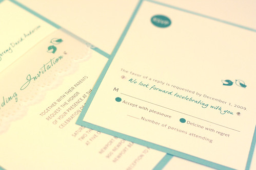Modern Green Birdie Wedding Invitation-2