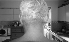 behind in the Kitchen (CANDYTANGERINE) Tags: me hair neck buzz jan cut trimmed blond shave cutting chop snip nape
