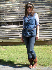 A Fusion of Blues (Starr Crow) Tags: old flowers white home girl grass hat vintage necklace paint heart boots tan jeans layer fedora pocket decrepit polo smock estatesale forever21 slouchy thirfted