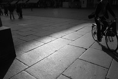 Night and day (guajava) Tags: street city shadow vacation people urban blackandwhite bw holiday france monochrome bike bicycle square day cyclist cathedral outdoor 28mm sigma strasbourg alsace foveon basrhin dp1 hccity