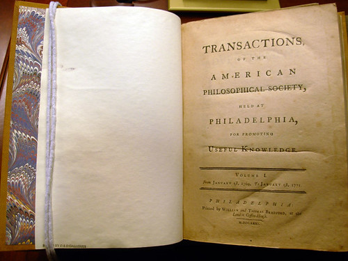 Transactions of the American Philosophical Society; Volume 1. Philadelphia, 1771.