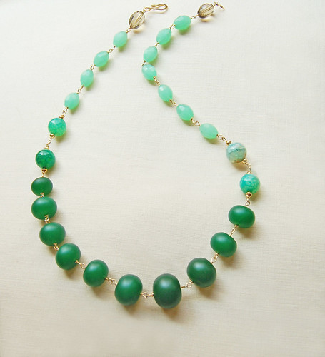 EMERALD :: Green sea glass and jade necklace