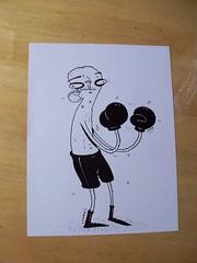 Stringbean Boxer (TheGrossUncle) Tags: sports shop illustration ink skinny cartoon marker boxer sharpie etsy boxing fighting blackeye boxinggloves welterweight etsyshop grantgilliland thegrossuncle