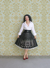 Black and White (Elsita (Elsa Mora)) Tags: blue portrait orange inspiration selfportrait color art smile fashion photoshop self hair happy outfit nice shoes artist personal top sandals background inspired remix seed style skirt blouse hidden blogged wardrobe elsa mora selfexpression elsita