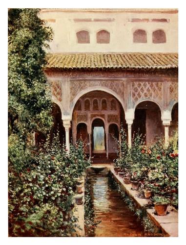 036-Granada-El Generalife patio de la acequia2-Southern Spain 1908- Trevor Haddon