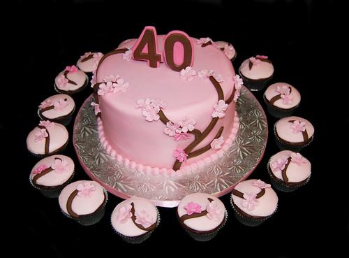 pink cherry blossom 40th anniversary cake