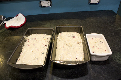 Loaf pans ready for oven