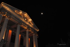 Moon and Oradea theater (capreoara) Tags: city november building architecture night nikon exposure style center architectural romania oradea d3000 oradearomania transylvaniaoradea