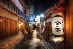 Finding Dinner in the Alleys of Kyoto (Stuck in Customs) Tags: life travel urban signs color reflection japan night digital photography lights restaurant blog high alley nikon kyoto asia dynamic stuck basin september kanji  dining imaging lantern top100 prefecture range 2009 brilliant metropolitan hdr yamashiro trey travelblog customs honshu tamba kyto  ratcliff honsh stuckincustoms d3x osakakobekyoto kytofu keihanshin