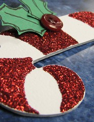 Candy Cane (JustScrappinHappy) Tags: christmas red cane sparkles glitter fun december candy buttons magic holly ornaments embellishments stickles shessocrafty craftaday arainbowofcolor allthingsfun