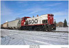 Soo MP15AC 1555 (Robert W. Thomson) Tags: railroad snow cold train diesel railway trains milwaukee harvey northdakota locomotive canadianpacific trainengine sooline cp soo switcher milw switchengine emd milwaukeeroad mp15ac mp15 fouraxle endcabswitcher top20rrpixhf