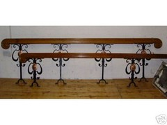 oak, iron and copper work railings