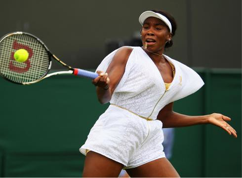 African-American tennis star from the United States, Venus Williams, at the Wimbledon matches in Britain. She won an easy victory June 20 and made a profound fashion statement. by Pan-African News Wire File Photos