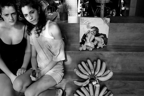 Two girls. Bananas. Glenn Gould. Bach. Ginger root. Cellphone.