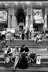 The Tourists (Lori Foxworth) Tags: nyc newyorkcity family urban blackandwhite kids candid library steps tourists tired bershon lorifoxworth yourdailycheesesteak lorifoxworthphotography blackwhiteandraw
