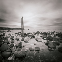 Memorial (Chris McKeown) Tags: longexposure blackandwhite seascape mono squareformat northernireland duotone ulster countyantrim larne jameschainememorial