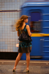 Metro (Che-burashka) Tags: urban motion girl fashion vertical train hair underground 50mm highheels wind metro candid capital ukraine kiev    400d katianosenkocheburashkajulyportfolio