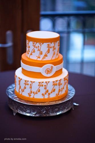 Orange and White Modern Wedding Cake - iHeartCakes