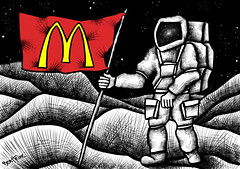 McDonaldization (Ben Heine) Tags: world wild wallpaper mars food usa moon money art lune print poster restaurant technology space flag south fastfood rich fast 2006 mcdonalds eat pollution revolution future planet junkfood environment waste capitalism copyrights quick ronaldmcdonald cultures invasion nourriture consumerism ecosystem drapeau colonization sauvage freegan politicalart gaspillage cosmonaute americanization financialcrisis freeganism mcdonaldization spationaute benheine pouvoirdachat taikonaute globalizationofmcdonalds marchersurlalune wallkonhtemoon infotheartisterycom purchsingpower capitalismedbrid proposition37nov2012oncaliforniagmofoodlabelling