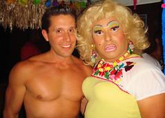 Drag66 006 (danimaniacs) Tags: shirtless man cute sexy male guy smile pecs club drag costume nipple dress muscular bare chest makeup handsome hunk wig dragstrip66 chicosangels freidalaye